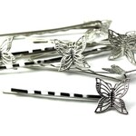Filigree Bobby Pins 17mm Butterfly Pad Silver Tone (8) FI554