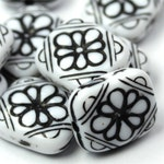 Plastic Beads Ornate Floral Flat Rectangle 12x11mm White and Black (14) PB047
