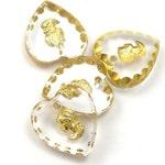 1 Glass Cameo Charm 12x11 Crystal and Gold CP006