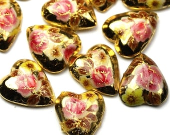 Vintage Japanese Glass Cabochons Floral Heart Pink and Gold (6) VGC196