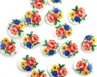 8 Vintage 10x8mm Glass Cabochons - Floral - OL14