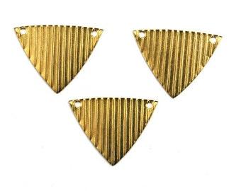 Corrugated Triangle Geometric Pendant 2 Hole Raw Brass Charms  (6) CP211