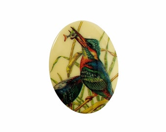 Vintage West German Plastic Cabochon 40x30 Kingfisher Bird Style 1 Oval Picture Limoge Flat Back Jewelry Making Supplies VPC109