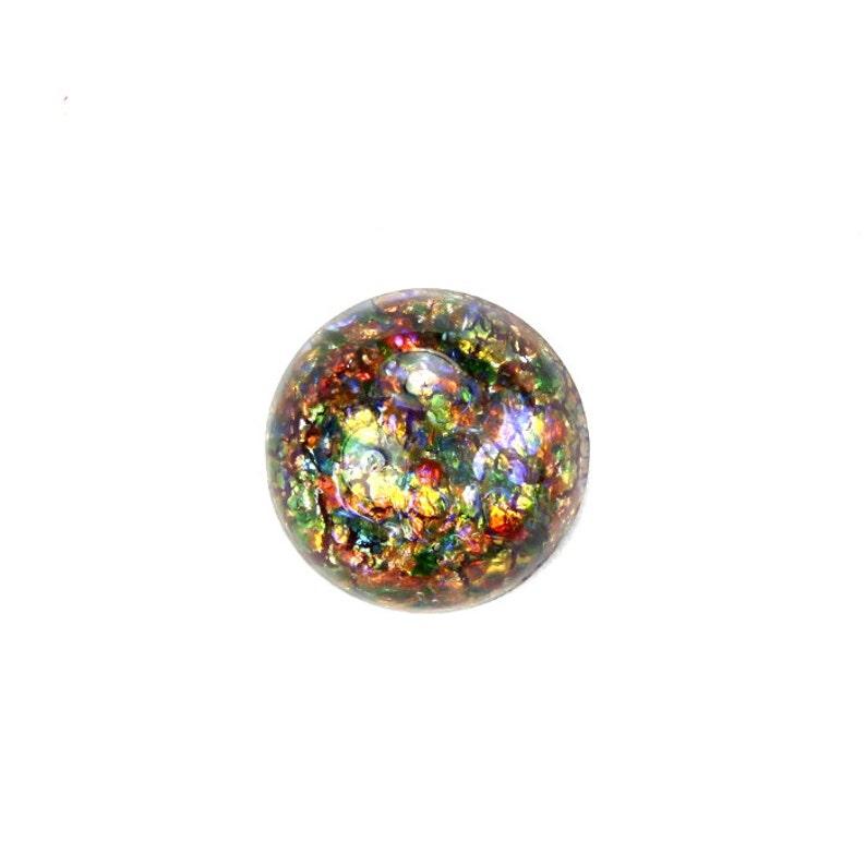 Glass Cabochons Czech 13mm Red Multi Opal 1 GC067 image 0