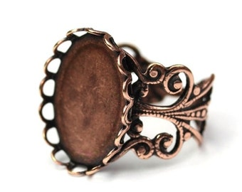 Ornate Filigree Ring Blank 18x13mm Setting Antique Copper Plated (1) FI515