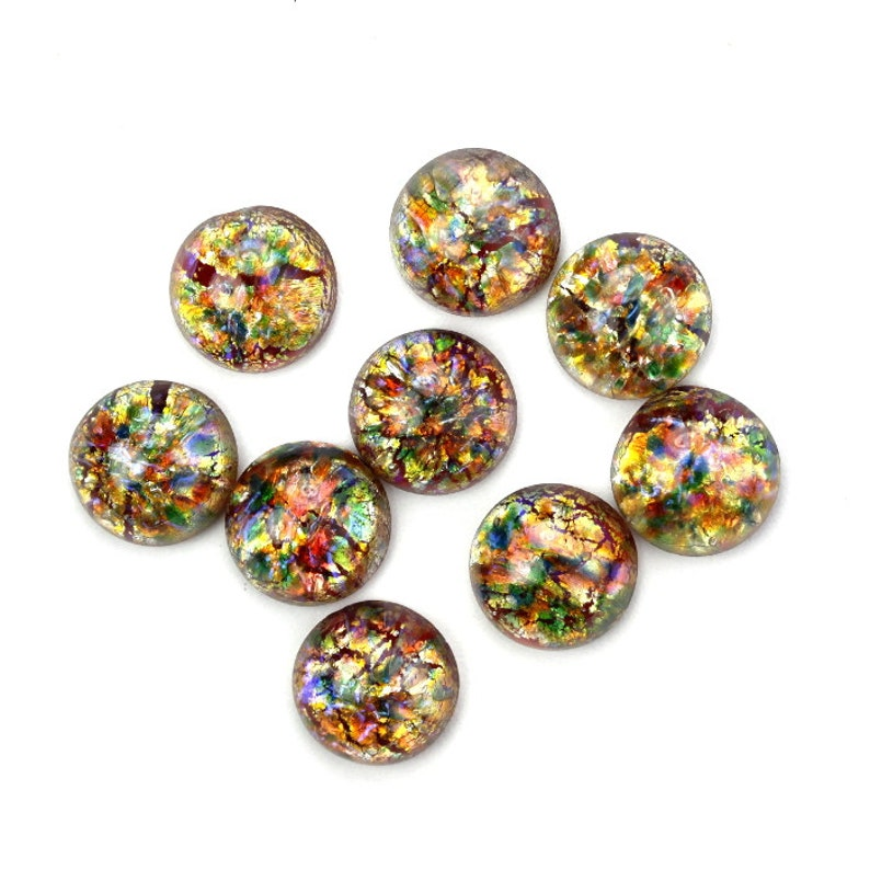 Glass Cabochons Czech 9mm Round Red Multi Opal 2 GC050 image 0