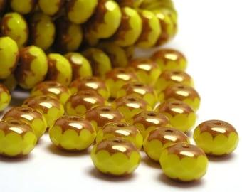 25 Czech Glass Gemstone Donut 7x5mm Opaque Yellow Copper Finish CZF043