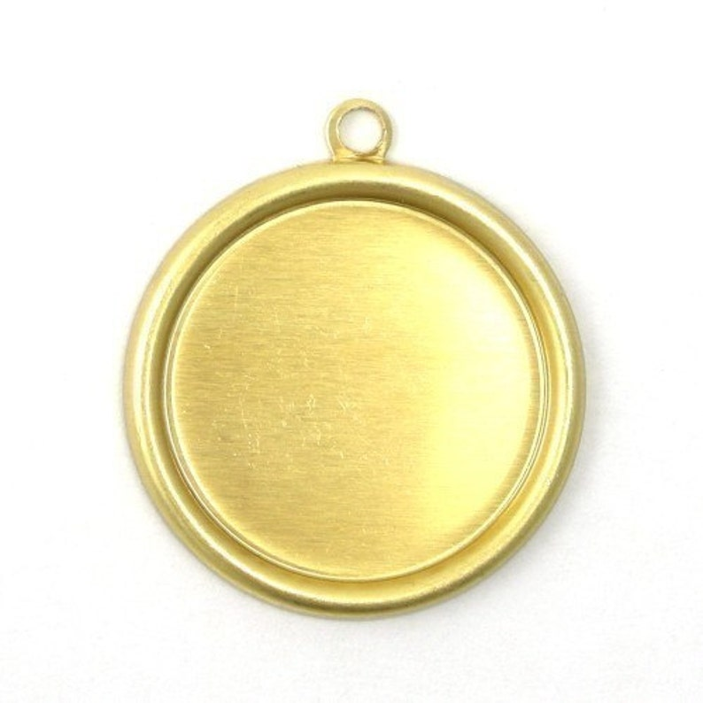6 Rolled Edge Raw Brass Stampings  18mm Round Setting  1 image 0