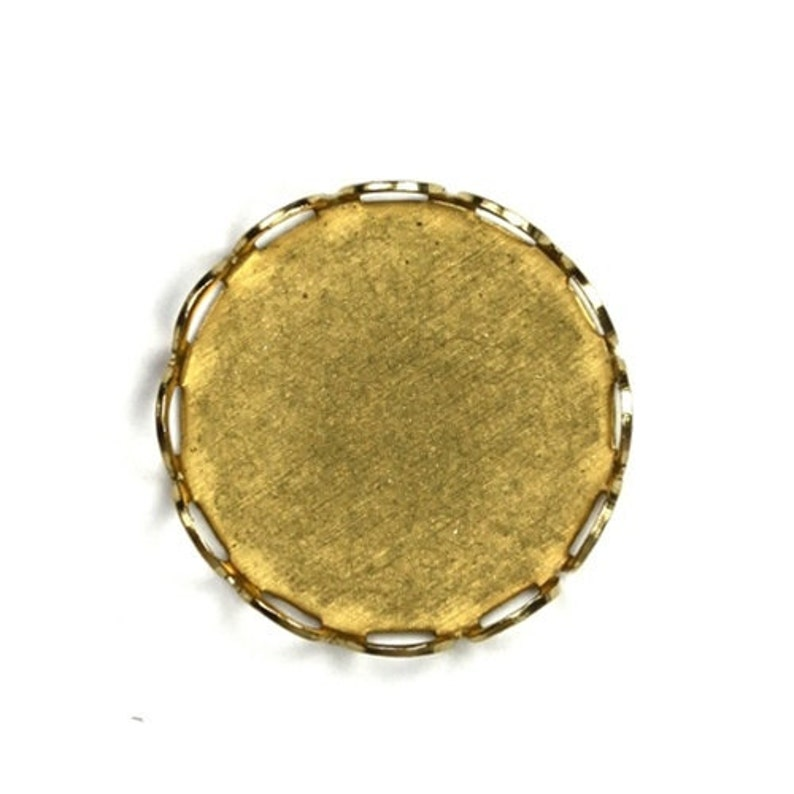 Cameo or Cabochon Settings 15mm Lace Edge  Raw Brass 8 image 0
