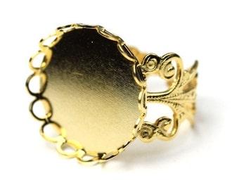 Ornate Filigree Ring Blank 18mm Setting Gold Plated (1) FI512