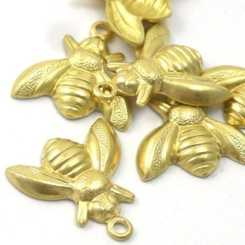 Raw Brass Insect Bee Stamping Charms Small 10 CP024 image 0