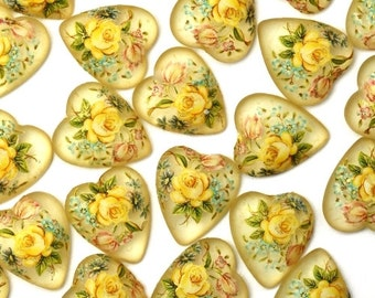 Vintage Japanese Glass Cabochon 11mm Heart Yellow Rose (6) LH09