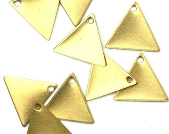 Charms Small Triangle Blank Geometric Shape Raw Brass 13x11mm (10) CP141