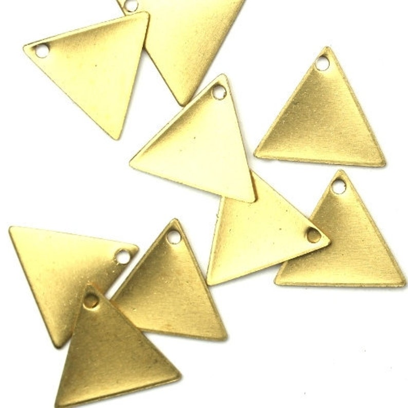 Charms Small Triangle Blank Geometric Shape Raw Brass 13x11mm image 0