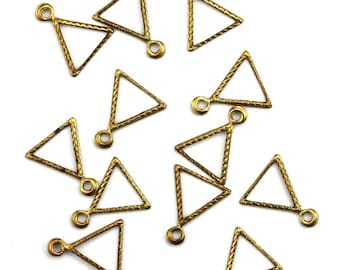 Tiny Open Triangle Twisted Rope Edge Charms Raw Brass (10) CP244