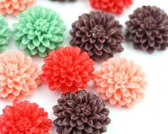 Flower Cabochons Plastic Chrysanthemum 21mm Bulk Mix (10) PC401
