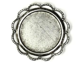 Settings Filigree Edge 18mm Dapped - Silver Ox (2) FI358