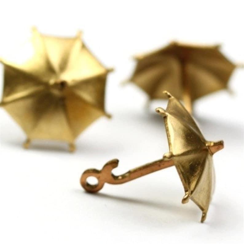 Charms 3D Umbrella Raw Brass Rainy Day 2 CP034 image 0