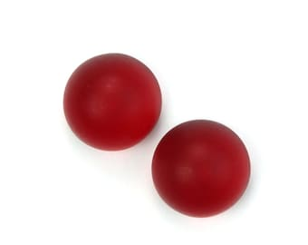 Vintage Cabochons Glass Matte Raspberry Red High Domed Round Flat Back 15mm (2) VGC466