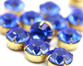 Vintage Swarovski Rhinestone in Prong Brass Setting 47ss Sapphire Blue 11mm Findings Crystal Stones (4) VS076
