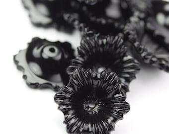 Vintage Plastic Beads Flowers Black 15mm (20) VPB277