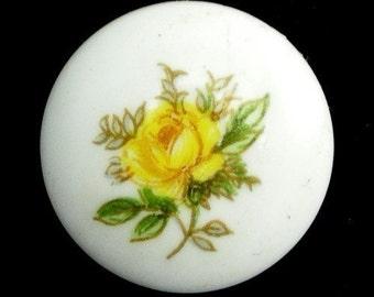 Vintage Porcelain Floral Cabochons Japanese 18mm Yellow Rose (4) VGC117