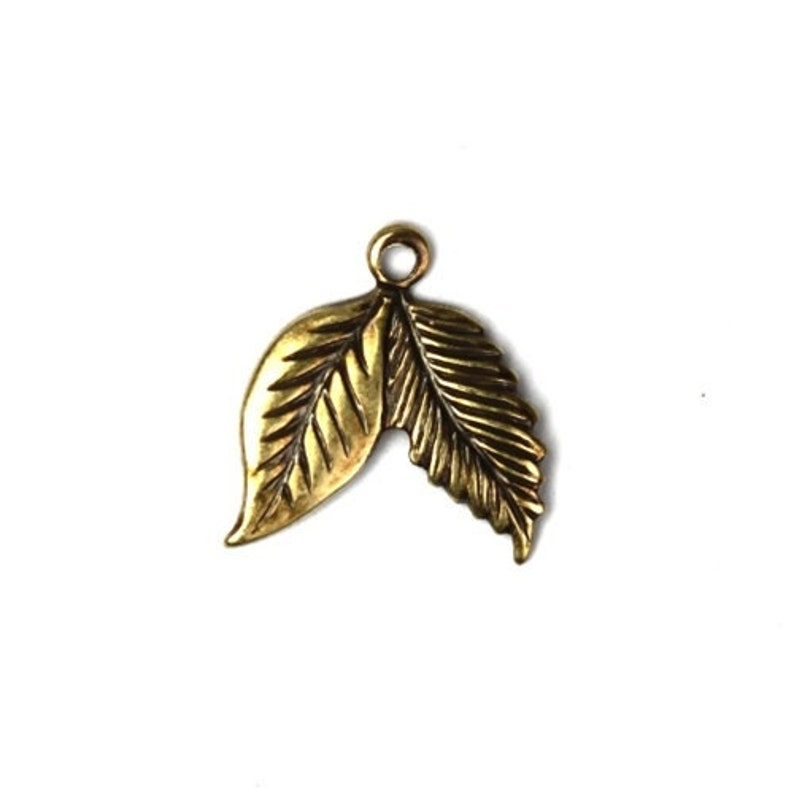 Double Leaf Stamping Charms Small Brass Ox 6 CP115