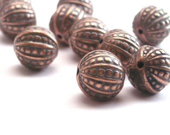 Vintage Metalized Ornate Beads 12mm Antiqued Copper Pebbled Round (10) VPB065