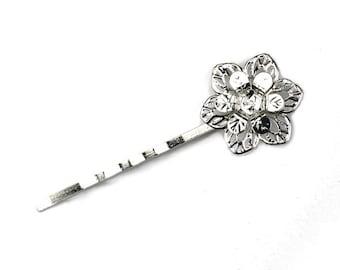 Bobby Pin Double Flower Filigree 55x20mm Silver Tone (6) FI739