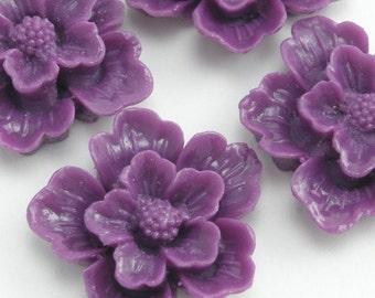 Plastic Sakura Flower Cabochons - Purple - 22mm (4) PC093