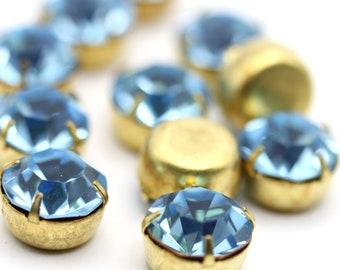 Vintage Swarovski Rhinestone in Prong Setting 47ss Aquamarine Blue 11mm Findings Crystal Stones (4) VS075