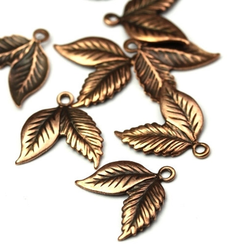 Double Leaf Stamping Charms Small Copper Ox Leaves Pendant 4 image 0