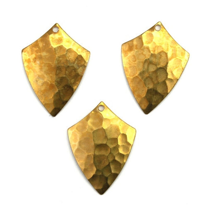 Shield Drop Charm or Pendant Hammered Raw Brass 6 CP215 image 0