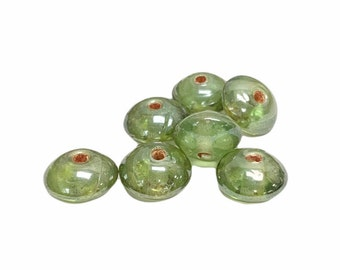 Vintage Japan Glass Beads 11x7mm Saucer Iridescent Green 1940's Luster Jewelry Supplies (7) VGB088