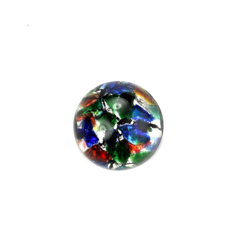 Glass Cabochons Czech 13mm Black Multi Opal 1 GC069 image 0
