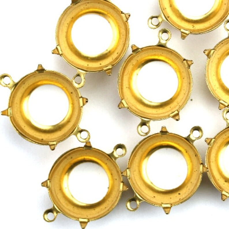 Prong Settings Round Raw Brass 15mm 60SS Open Back 2 Ring 6 image 0