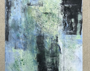 Green Tea 1, 11 by 14 abstract, oil with other media, original, one of a kind, part of series