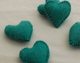 100% Wool Felt Fabric Sewn / Stitched Felt Heart - 2 Count - approx 5.5cm (2.15 inches) - Teal