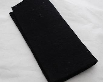 "100% Wool Felt Fabric - Approx 3mm - 5mm Thick - 30cm / 12"" Square Sheet - Black"