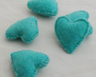 100% Wool Felt Fabric Sewn / Stitched Felt Heart - 2 Count - approx 5.5cm (2.15 inches) - Light Turquoise Blue