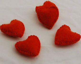 100% Wool Felt Fabric Sewn / Stitched Felt Heart - 2 Count - approx 5.5cm (2.15 inches) - Tangelo Orange