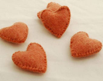 100% Wool Felt Fabric Sewn / Stitched Felt Heart - 2 Count - approx 5.5cm (2.15 inches) - Light Carrot Orange