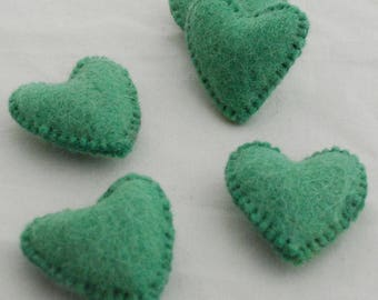100% Wool Felt Fabric Sewn / Stitched Felt Heart - 2 Count - approx 5.5cm (2.15 inches) - Light Green