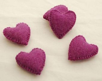 100% Wool Felt Fabric Sewn / Stitched Felt Heart - 2 Count - approx 5.5cm (2.15 inches) - Dark Amethyst Purple