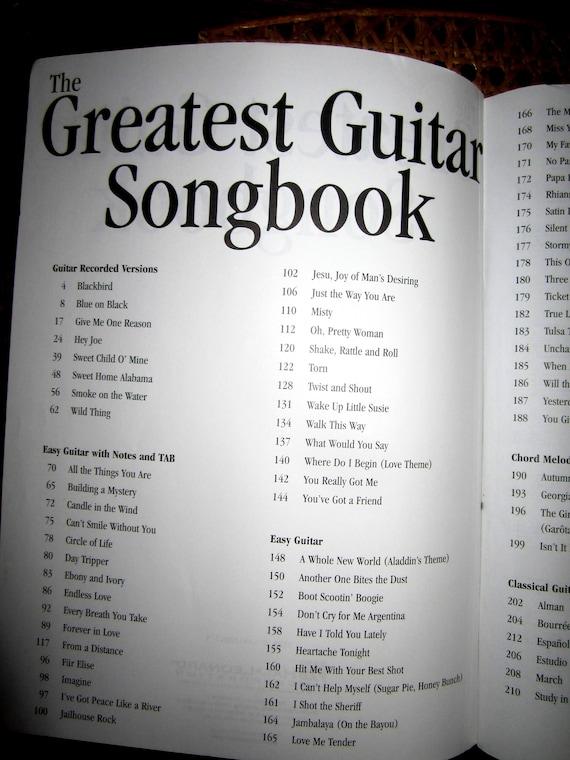 The GREATEST GUITAR SONGBOOK Guitar Tablature Lyrics | Etsy