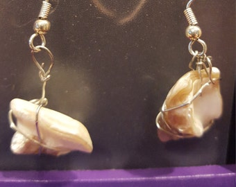 Abalone Wire Earrings, sterling