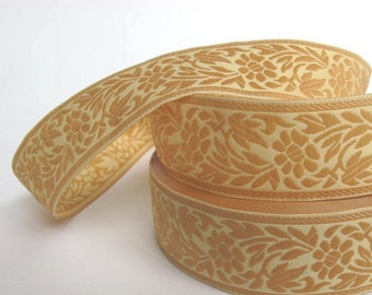 FLORAL CAMEO embroidered Jacquard trim Light beige on Ecru. Sold by the yard. 1 1/8 inch wide. 998-A