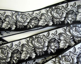 BLACK and WHITE ROSES Jacquard trim. Reversible trim. Sold by the yard. 1 3/4 inch wide.  962-a. Steampunk, Diesel punk