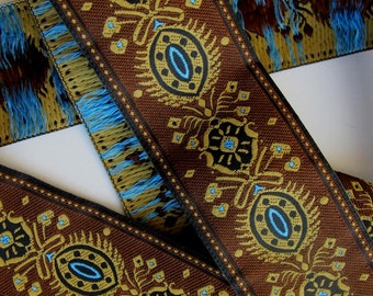 """WINTER SOLSTICE Jacquard trim in turquoise, mustard, on brown and black. Sold by the yard. 1 1/2"""" wide. 603-A Brown trim"""