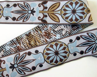 PINWHEELS wide Jacquard trim in brown, beige, aqua,  on off-white. Sold by the yard. 2 inches wide. 2046-C